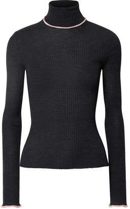 Acne Studios Ribbed Merino Wool Turtleneck Sweater - Dark gray