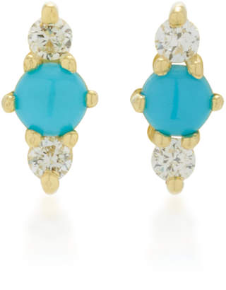 Ila Hanley 14K Gold Turquoise and Diamond Earrings