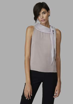 Giorgio Armani Pure Silk Crepe Top With Knot At Shoulder