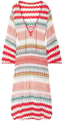 Missoni Mare Donna Lace-up Crochet-knit Kaftan - Red