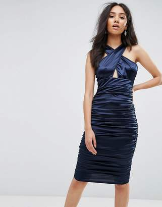 AX Paris Navy Ruched Dress With A Cross Over Cut Out Front