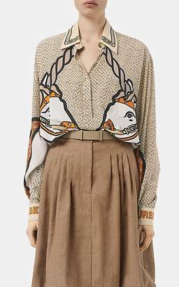 Burberry Women's Unicorn- & Monogram-Print Silk Blouse - Beige, Tan