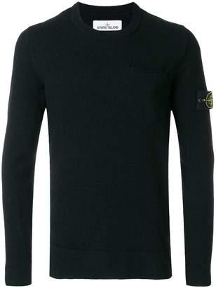 Stone Island chest pocket crew neck sweater