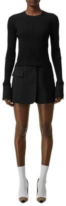 Burberry Long Sleeve Tailored Hem Rib Sweater Dress