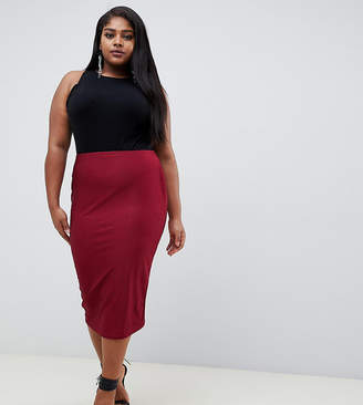 Missguided Plus ribbed velvet midi skirt in red