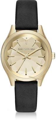 Karl Lagerfeld Janelle Gold-tone PVD Stainless Steel Women's Quartz Watch w/Black Leather Strap