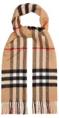 Burberry House Check Cashmere Scarf - Mens - Camel