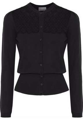 RED Valentino Embroidered Point D'esprit-Paneled Wool Cardigan