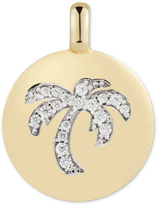 """Swarovski Charmbar Zirconia Palm Tree """"Good Vibes Only"""" Reversible Charm Pendant in 14k Gold-Plated Sterling Silver"""
