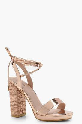 boohoo Amber Diamante Platform Lace Up Heels