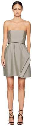 Halston Striped Strapless Dress w/ Folded Drape Women's Dress