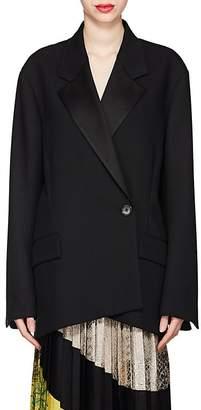 Dries Van Noten Women's Satin-Trimmed Wool Oversized One-Button Blazer
