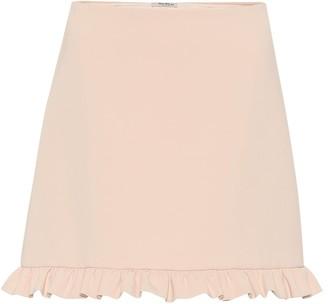 Miu Miu Ruffled crepe miniskirt
