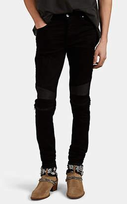 Amiri Men's MX2 Leather-Inset Distressed Skinny Jeans - Black