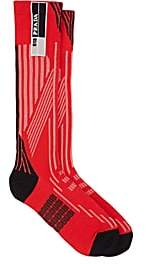 Prada Women's Logo Striped Compact Knit Mid-Calf Socks-Red