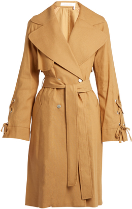 Double-breasted linen-twill trench coat