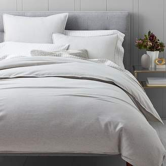 west elm Flannel Solid Duvet Cover - Frost Gray