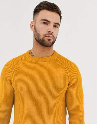 Jack and Jones Originals crew neck knitted jumper in yellow