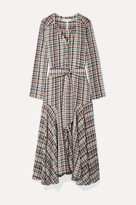Apiece Apart Pacifica Belted Checked Crepe Midi Dress - Mint