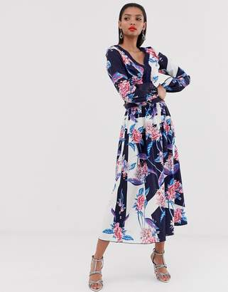 Little Mistress all over floral printed maxi skirt two-piece in multi