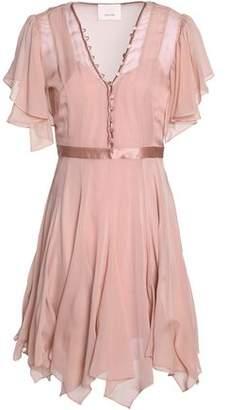 Cinq à Sept Satin-Trimmed Ruffled Silk-Chiffon Mini Dress