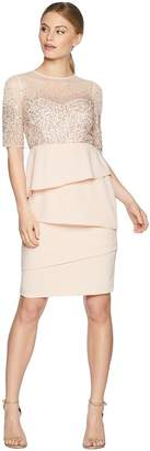 Adrianna Papell Petite 3/4 Sleeve Bead Bodice Cocktail Dress with Artichoke Crepe Skirt Women's Dress