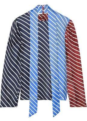 Tibi Draped Striped Color-block Silk-twill Top