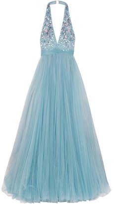 Jenny Packham Embellished Tulle Halterneck Gown - Blue