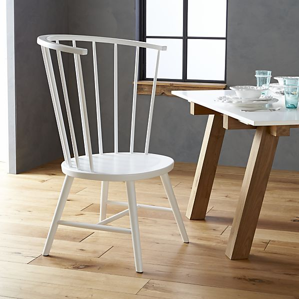 Crate & Barrel Riviera White Tall Windsor Side Chair.