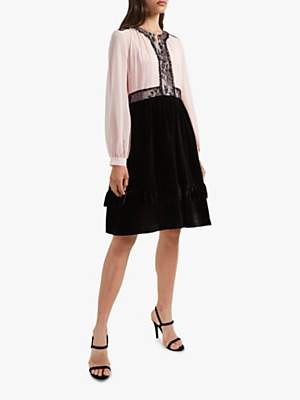 French Connection Ednae Lace Bodice Mix Dress, Black/Ballet Blush