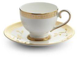 Prouna Golden Leaves Tea Cup & Saucer