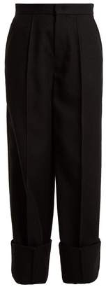 Joseph Brem Wide Leg Wool Twill Trousers - Womens - Black