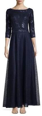 Tadashi Shoji Three Quarter Sleeve A-Line Sequined Gown $559 thestylecure.com