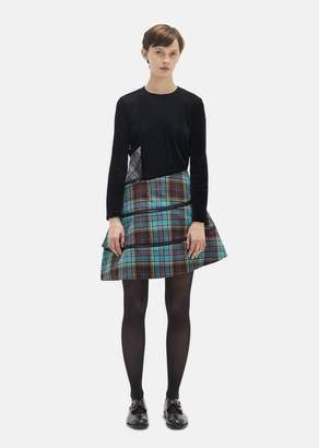 Junya Watanabe Wool Tartan Check Flared Skirt Sax