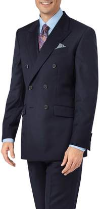 Charles Tyrwhitt Navy Slim Fit Double Breasted Twill Business Suit Wool Jacket Size 36