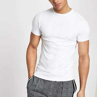River Island White ribbed muscle fit embroidered T-shirt