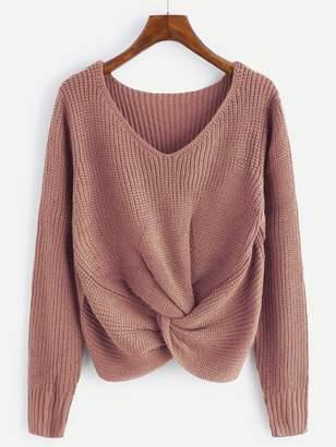 Shein Plus Twist Detail V Neck Sweater
