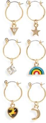 BP Set of 6 Mismatched Charm Hoop Earrings