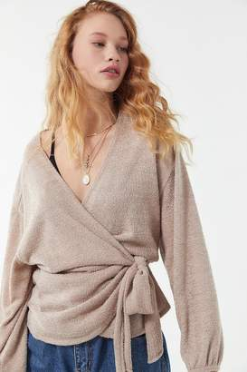Out From Under Blair Eyelash Long Sleeve Wrap Top