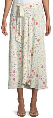 Velvet Swan Floral-Print Midi Skirt
