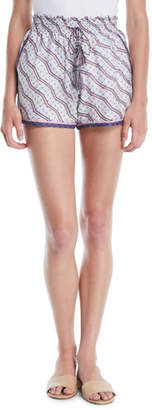 Talitha Collection Zigzag Print Ruched Silk-Cotton Shorts