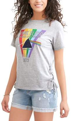 "Rainbow Light PINK FLOYD Pink Floyd Juniors' ""The Dark Side of the Moon World Tour 1973 Prism Side Lace Graphic T-Shirt"