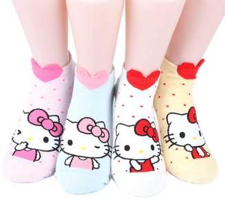 Hello Kitty Kikiya Socks Series Women's Original Socks 4 pairs (4 color) =1 pack Made in Korea 02