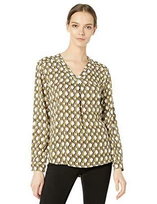 Nine West Women's Long Sleeve Printed V-Neck Blouse,L