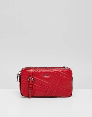 DKNY allen leather quilted top zip bag in red