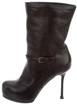 Saint LaurentYves Saint Laurent Shearling-Lined Leather Platform Ankle Boots