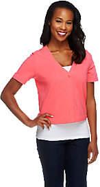Denim & Co. Essentials Short Sleeve One ButtonKnit Shrug