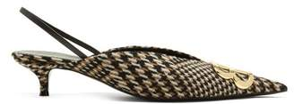 Balenciaga Houndstooth Bb Slingback Pumps - Womens - Brown Multi