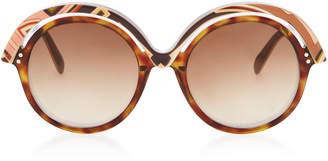 Emilio Pucci Sunglasses Oversized Printed Acetate Round-Frame Sunglasses