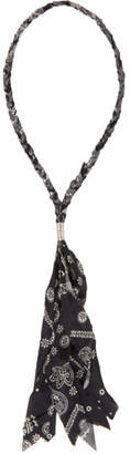 Palm Angels Black and White Bandana Necklace